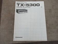 Pioneer TX-5300 Stereo Tuner Owners Operating Instructions Manual