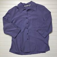 NWT Dressbarn DB Women's Button Down Shirt Top Size Medium 3/4 Sleeve Purple
