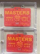 1972 USED MASTERS GOLF BADGES~COLLECTORS ITEM~VERY RARE PAIR~JACK NICKLAUS