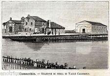Valli di Comacchio:Valle Pega:Casone Caldirolo.Stampa Antica + Passepartout.1891