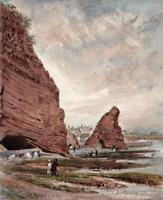 FIGURES ON DAWLISH DEVON COASTLINE Small Watercolour Painting 19TH CENTURY