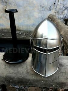 Medieval Barbuta Helmet Knights Templar Crusader Armour Helmet Halloween gift