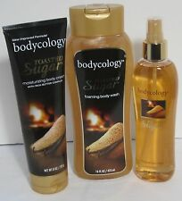 Bodycology TOASTED SUGAR Foaming Body Wash Moisturizing Cream Mist Set 3 Vanilla