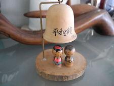 Japan Doll Kokeshi Mini Bell Wood Kimono Kid Home Table Decor Vtg Collectible -1