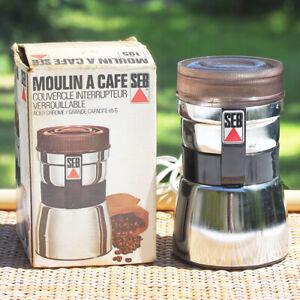 Moulin à café électrique en métal chromé SEB type 105 N en boîte vintage
