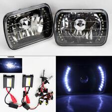 """7X6"""" 10K HID Xenon H4 Black Chrome LED DRL Glass Headlight Conversion Pair GMC"""