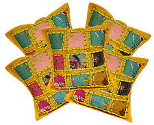 5pc Traditional Embroidered Patchwork Pillow Case Cushion Covers 12x12 Inches
