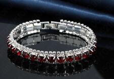 Valentine 925 Sterling Silver Simulatted Ruby Women  7 Inch Bracelet UK