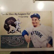 "Ken-Wel Brand Lou Gehrig Baseball Glove Ad Metal Sign 16"" by 12.5"""