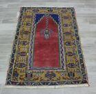 Vintage Turkish Handmade Carpet Anatolian Traditional Unique Entryway Rug 2x4ft