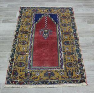 Multi Color Turkish Handmade Carpet Anatolian Art Design Small Accent Rug 2x4ft