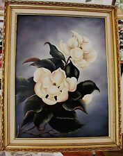 Vintage 80's Original Oil Painting on Canvas MAGNOLIAS  By Artist Not Repro