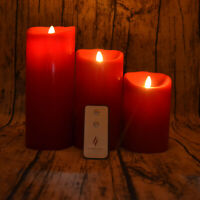 """Luminara Flicker Flame Effect Cinnamon Led Candle Set 5""""7""""9"""" with Remote/Timer"""