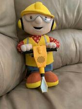 "2001 Bob The Builder 12"" inch Talking Jack Hammer Toy Plush Hasbro Working"