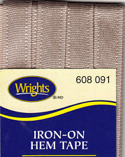 WRIGHTS BEIGE (091 IRON ON HEM TAPE-3 YARDS-NO SEW,REPAIR,CLOTHING-FREE SHIPPING