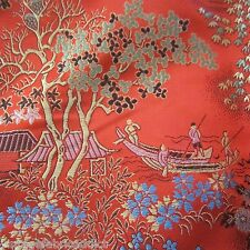 98cm x 88cm ORIENTAL VINTAGE BOLD RED PICTORIAL BROCADE CHINESE FABRIC 1960S