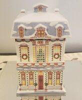 Vintage Lenox Christmas Village Fine Porcelain Cookie Jar 1990