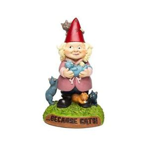Bigmouth Crazy Cat Lady Garden Gnome Statue Novelty Funny Lawn Ornament Gift NEW