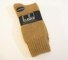 b.ella Ladies Wool Cashmere Angora Blend Crew Socks Este Camel - New