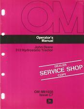 John Deere 312 Hydrostatic Lawn & Garden Tractor Operator's Manual