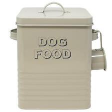 Retro Vintage Sage Dog Food Storage Tin & Scoop Pet Treats Biscuit Container