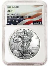 2020 1oz Silver Eagle NGC MS69 - Flag Label