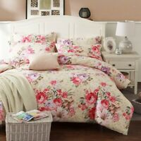 Heavyweigh Brushed Cotton 4Pcs Bedding Sets Flowers Leaves Cover Bed Sheet Set