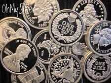 Lot of 10 x 1 Gram Silver RANDOM MIX Coin Bullion Rounds .999 Fine
