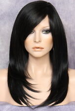 Silky straight Wig Long Razor cut layers bangs Black 1 Hairpiece NWT OCL