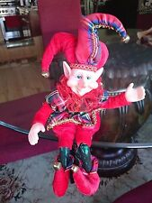 "14"" BENDABLE POSEABLE ORNATE RED & PLAID CHRISTMAS ELF JESTER PIXIE ~ NEW"