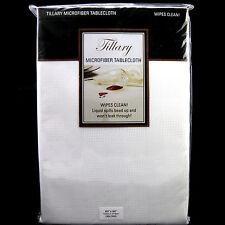 "White Microfiber Tablecloth Wipe Clean 60"" x 84"" Liquids Bead Up Tillary"