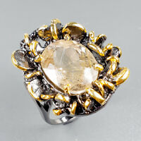 Vintage11ct+ Natural Rutilated Quartz 925 Sterling Silver Ring Size 6.25/R121793