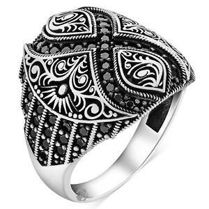 Solid 925 Sterling Silver Black Micro Stone Italian Design Infinity Men's Ring