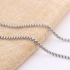 SANDRA Mens Jewelry 2.4mm 16-40 Silver Stainless Steel Box Necklace Chain