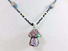"Delightful Milifloral Clay Art Mushroom Foiled Seed Bead 15"" Handmade Necklace"