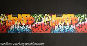 Childrens, Kids, Multi-coloured, Graffiti Design, Wallpaper Border (25.5cm x 5m)