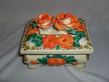 Vintage Bisque 2 Pc Trinket Box Ceramic Orange Roses Ornate NICE