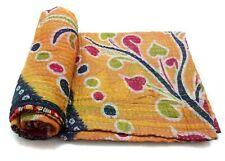 Vintage Kantha Quilt Decorative  Cotton Bedspread Elegant Bedding Throw GF82