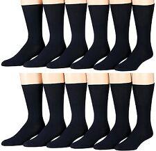 Mens 6 pack  Diabetic Dress Socks Organic Cotton Blend Rich European Black ONLY