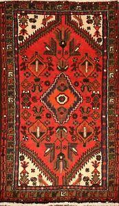 Vintage Hamedan Geometric Wool Area Rug Tribal Hand-Knotted Oriental Carpet 3x5