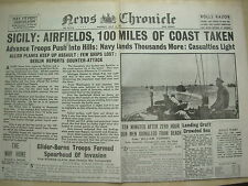 NEWS CHRONICLE WWII NEWSPAPER JULY 12 1943 SICILY AIRFIELDS CAPTURED BY ALLIES