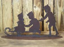 Patine Décoration de Jardin Déco Jardin Luge Enfants 3 Hiver Noël Métal