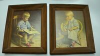 B.P. Co, Inc. Vtg. Print by Doug Wersen 12X10 in Frames Boy and Girl Set