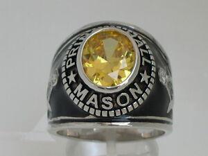 Mason Masonic Prince Hall November Yellow CZ Stone Rhodium Men Ring Size 12