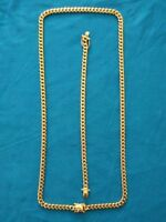 6mm Mens Cuban Miami Link Bracelet & Chain Set 14k Gold Plated Stainless Steel