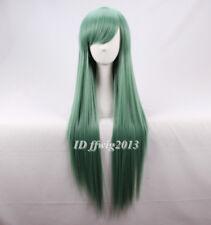 Verde Teal Recta Larga Cosplay Peluca + un casquillo de la peluca