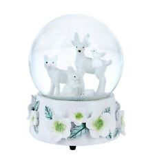 More details for musical snow globe dome embossed flower base woodland animals plays let it snow