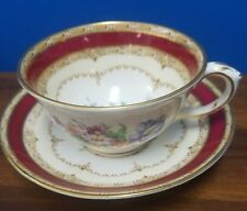 CROWN STAFFORDSHIRE china F15771 red border boquet Flowers pattern Cup & Saucer