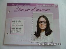 CARTE FICHE PLAISIR DE CHANTER NANA MOUSKOURI PLAISIR D'AMOUR