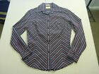037 WOMENS NWOT R. M. WILLIAMS BLACK / BURGUNDY STRIPED L/S SHIRT 8 $130 RRP.